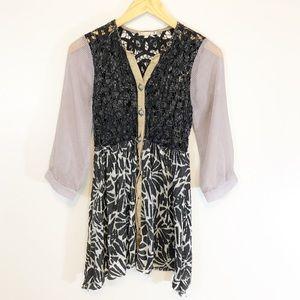 Gimmicks Buckle Blouse Top Dress Shirt Boho Print